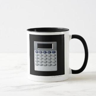 A silver calculator mug