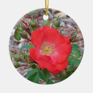 A simple salmon colored open rose ceramic ornament