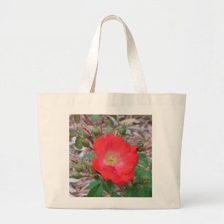 A simple salmon colored open rose large tote bag