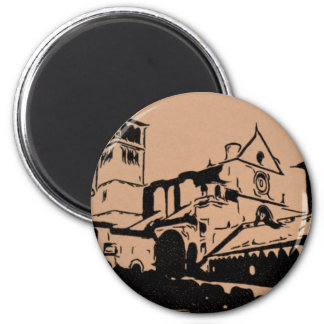 A Simple Sketch of St. Francis Basilica, Assisi 2 Inch Round Magnet