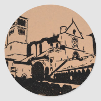 A Simple Sketch of St. Francis Basilica, Assisi Round Sticker