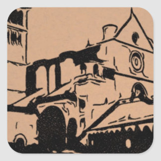 A Simple Sketch of St. Francis Basilica, Assisi Square Sticker