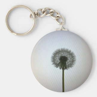 A Single Dandelion Against a White Backdrop Basic Round Button Keychain