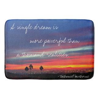 """A Single Dream"" Quote Orange & Blue Sunrise Photo Bath Mat"