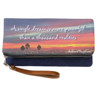 """""""A Single Dream"""" Quote Orange & Blue Sunrise Photo Clutch"""