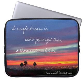 """A Single Dream"" Quote Orange & Blue Sunrise Photo Laptop Sleeve"