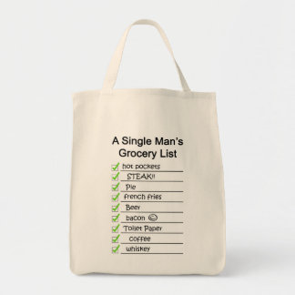 A Single Man's Grocery List Tote Bag