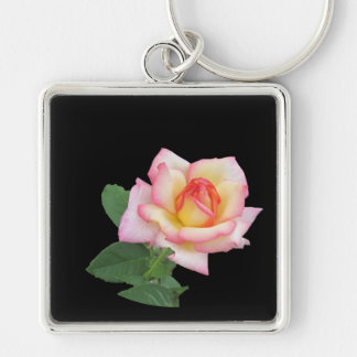 A Single Pink Rose Silver-Colored Square Keychain