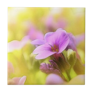 A Single Purple Rock Cress Flower Tile