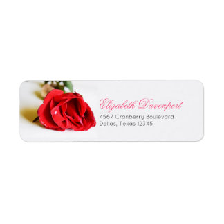 A Single Red Rose Minimalist Elegant Return Address Label