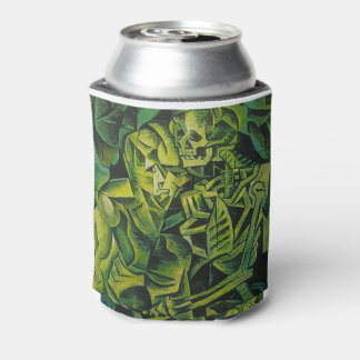 A Skeleton Embracing A Zombie Halloween Horror Can Cooler