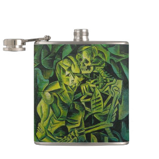 A Skeleton Embracing A Zombie Halloween Horror Hip Flask
