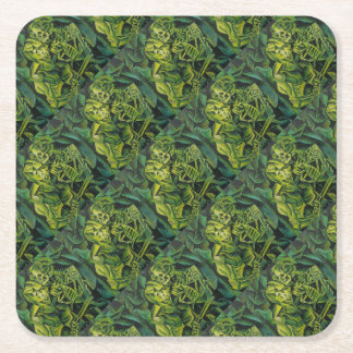 A Skeleton Embracing A Zombie Halloween Horror Square Paper Coaster