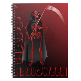 A skeleton with a scythe Happy Halloween 2 Notebooks