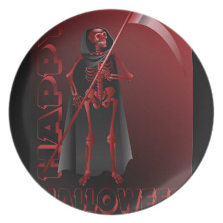 A skeleton with a scythe Happy Halloween 2 Party Plates