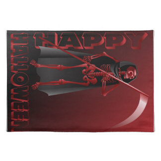 A skeleton with a scythe Happy Halloween 2 Place Mat
