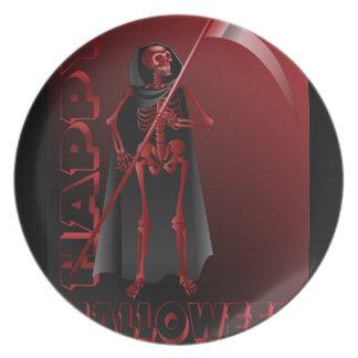 A skeleton with a scythe Happy Halloween 2 Plate