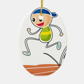 A sketch of a boy running ceramic ornament