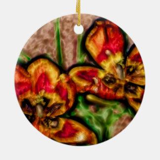 A Sketch of Tulipa Duo Round Ceramic Ornament