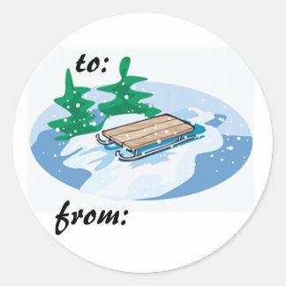 a sledding we will go classic round sticker