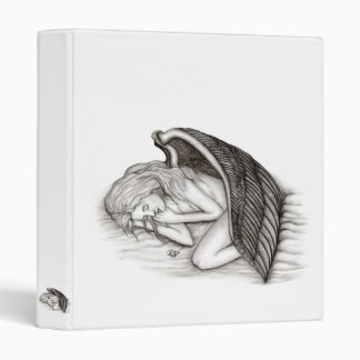 A sleeping Angel , Black and white Design 3 Ring Binder