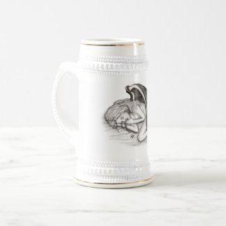 A sleeping Angel , Black and white Design Beer Stein