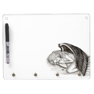 A sleeping Angel , Black and white Design Dry Erase Board With Keychain Holder