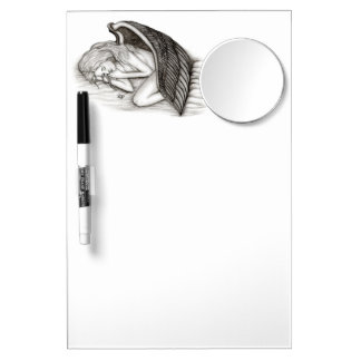 A sleeping Angel , Black and white Design Dry Erase Board With Mirror
