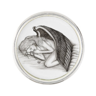 A sleeping Angel , Black and white Design Lapel Pin
