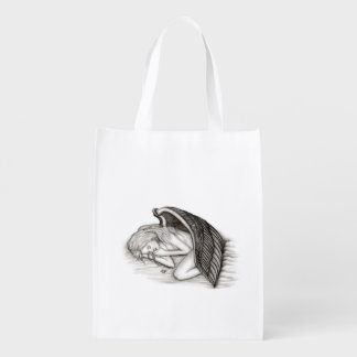 A sleeping Angel , Black and White Design Reusable Grocery Bag