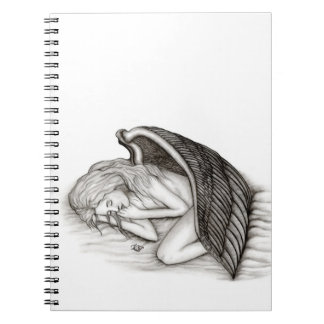 A sleeping Angel , Black and white Design Spiral Note Books