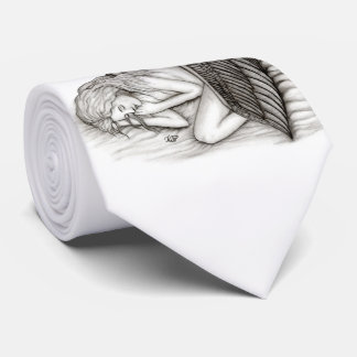 A sleeping Angel , Black and White Design Tie