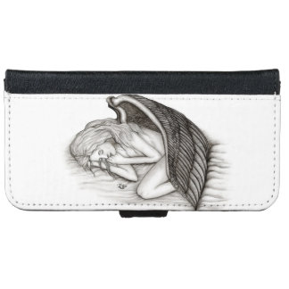 A sleeping Angel , black and white iPhone 6 Wallet Case
