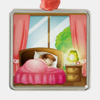 A sleeping girl on a bed Silver-Colored square ornament