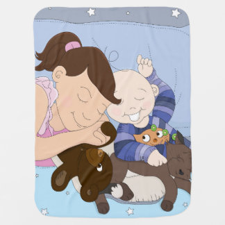 A Sleeping Millie and Baby Max Blanket Swaddle Blankets