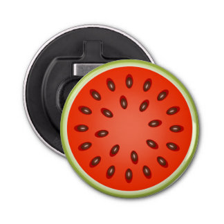 A Slice of Red Watermelon Button Bottle Opener