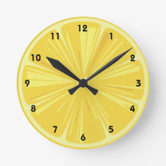 A Slice of Yellow Lemon Round Clock