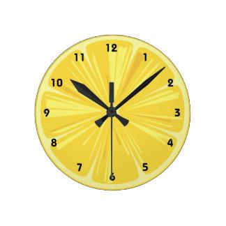 A Slice of Yellow Lemon Round Clock