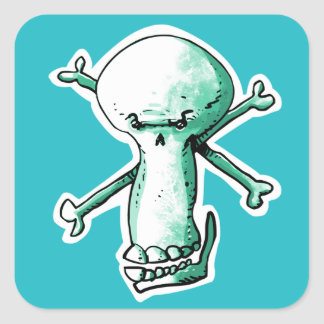 a sly skull laughing funny cartoon square sticker