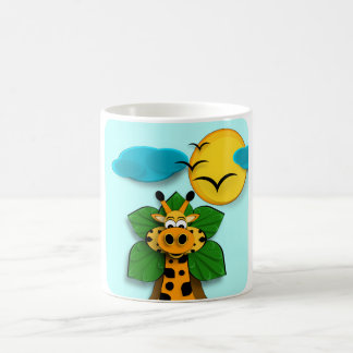 A small giraffe classic white coffee mug