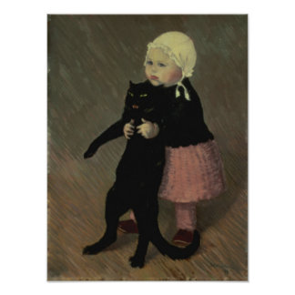 A Small Girl with a Cat, 1889 Poster