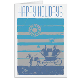 A Small Stagecoach on Christmas Eve Card