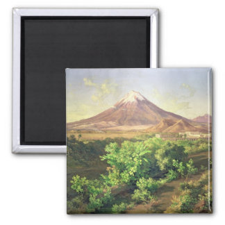 A Small Volcano in Mexican Countryside, 1887 (oil Square Magnet