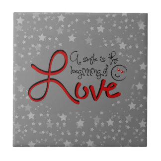 A smile is the beginning of love ceramic tiles