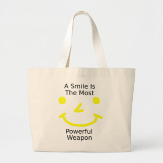 A Smile Is The Most Powerful Weapon (Smiley Face) Large Tote Bag
