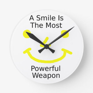A Smile Is The Most Powerful Weapon (Smiley Face) Round Clock