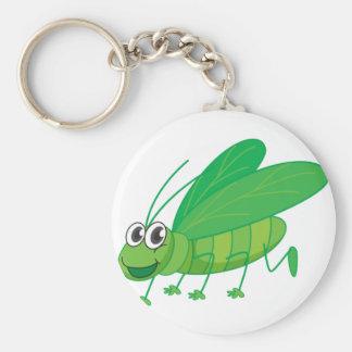 A smiling grasshopper basic round button keychain
