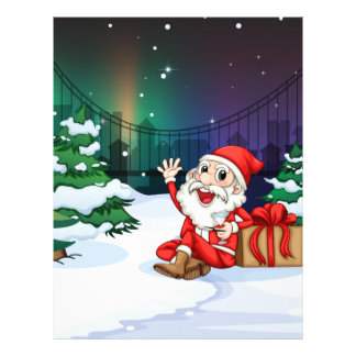 A smiling Santa beside the gift Customized Letterhead