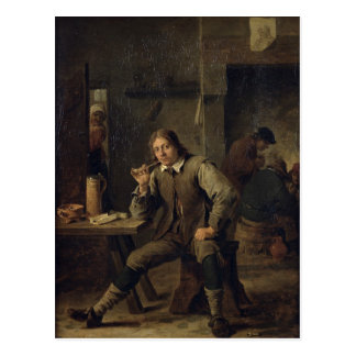 A Smoker Leaning on a Table, 1643 Postcard