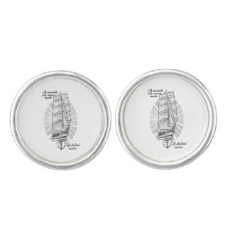 A smooth sea never made a skilled sailor cufflinks